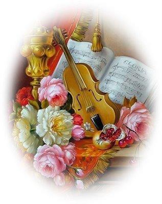 vioară flori