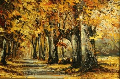 Pictura in ulei pe panza, peisaje de toamna, Toamna castanilor